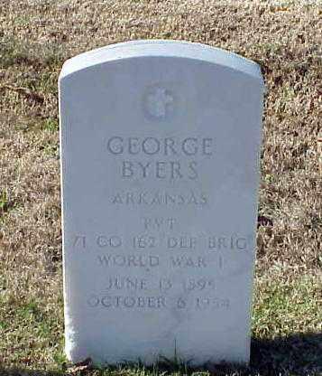 BYERS (VETERAN WWI), GEORGE - Pulaski County, Arkansas | GEORGE BYERS (VETERAN WWI) - Arkansas Gravestone Photos