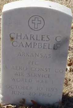 CAMPBELL (VETERAN WWI), CHARLES C - Pulaski County, Arkansas | CHARLES C CAMPBELL (VETERAN WWI) - Arkansas Gravestone Photos