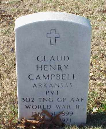 CAMPBELL (VETERAN WWII), CLAUD HENRY - Pulaski County, Arkansas | CLAUD HENRY CAMPBELL (VETERAN WWII) - Arkansas Gravestone Photos