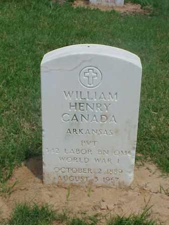 CANADA (VETERAN WWI), WILLIAM HENRY - Pulaski County, Arkansas   WILLIAM HENRY CANADA (VETERAN WWI) - Arkansas Gravestone Photos