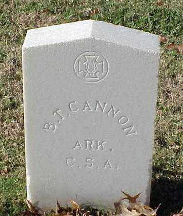 CANNON (VETERAN CSA), B T - Pulaski County, Arkansas | B T CANNON (VETERAN CSA) - Arkansas Gravestone Photos