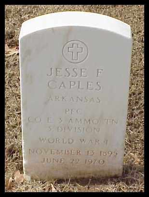 CAPLES (VETERAN WWI), JESSE F - Pulaski County, Arkansas | JESSE F CAPLES (VETERAN WWI) - Arkansas Gravestone Photos