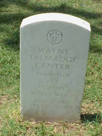 CENTER (VETERAN WWI), WAYNE TALMADGE - Pulaski County, Arkansas | WAYNE TALMADGE CENTER (VETERAN WWI) - Arkansas Gravestone Photos