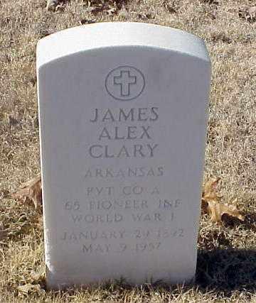 CLARY (VETERAN WWI), JAMES ALEX - Pulaski County, Arkansas | JAMES ALEX CLARY (VETERAN WWI) - Arkansas Gravestone Photos