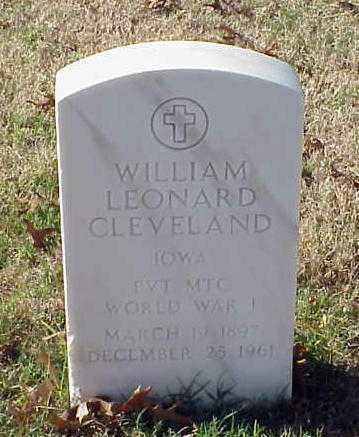 CLEVELAND (VETERAN WWI), WILLIAM LEONARD - Pulaski County, Arkansas | WILLIAM LEONARD CLEVELAND (VETERAN WWI) - Arkansas Gravestone Photos
