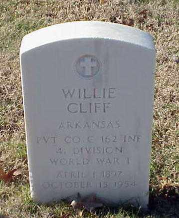 CLIFF (VETERAN WWI), WILLIE - Pulaski County, Arkansas | WILLIE CLIFF (VETERAN WWI) - Arkansas Gravestone Photos