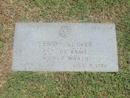 CLINES (VETERAN (WWII), LEROY - Pulaski County, Arkansas | LEROY CLINES (VETERAN (WWII) - Arkansas Gravestone Photos