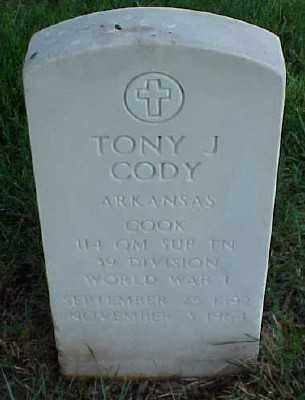 CODY (VETERAN WWI), TONY J - Pulaski County, Arkansas | TONY J CODY (VETERAN WWI) - Arkansas Gravestone Photos