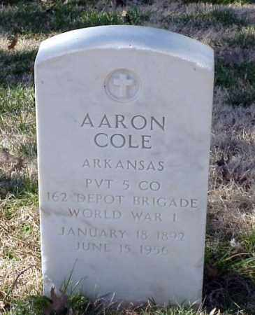 COLE (VETERAN WWI), AARON - Pulaski County, Arkansas | AARON COLE (VETERAN WWI) - Arkansas Gravestone Photos