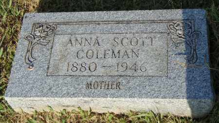 SCOTT COLEMAN, ANNA - Pulaski County, Arkansas | ANNA SCOTT COLEMAN - Arkansas Gravestone Photos