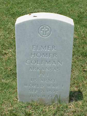 COLEMAN (VETERAN WWI), ELMER HOMER - Pulaski County, Arkansas | ELMER HOMER COLEMAN (VETERAN WWI) - Arkansas Gravestone Photos