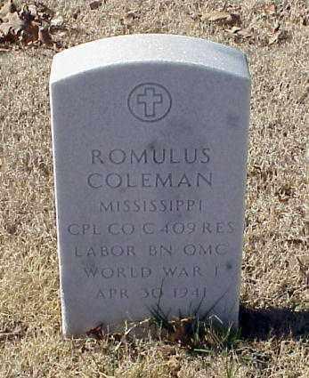COLEMAN (VETERAN WWI), ROMULUS - Pulaski County, Arkansas | ROMULUS COLEMAN (VETERAN WWI) - Arkansas Gravestone Photos