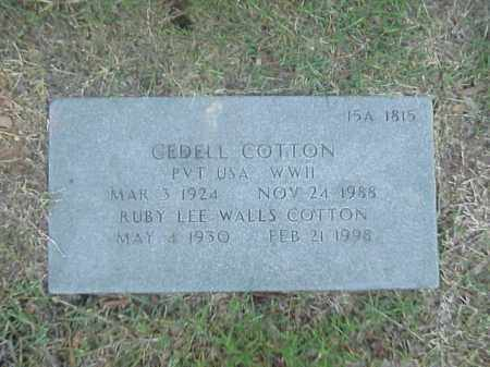 COTTON, RUBY LEE - Pulaski County, Arkansas | RUBY LEE COTTON - Arkansas Gravestone Photos