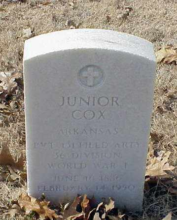 COX (VETERAN WWI), JUNIOR - Pulaski County, Arkansas | JUNIOR COX (VETERAN WWI) - Arkansas Gravestone Photos
