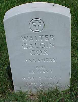 COX (VETERAN WWI), WALTER CALGIN - Pulaski County, Arkansas | WALTER CALGIN COX (VETERAN WWI) - Arkansas Gravestone Photos
