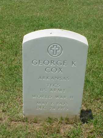 COX (VETERAN WWII), GEORGE K - Pulaski County, Arkansas | GEORGE K COX (VETERAN WWII) - Arkansas Gravestone Photos
