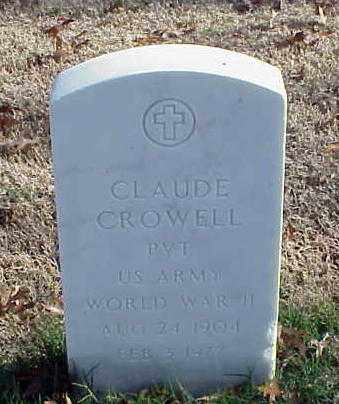 CROWELL (VETERAN WWII), CLAUDE - Pulaski County, Arkansas | CLAUDE CROWELL (VETERAN WWII) - Arkansas Gravestone Photos