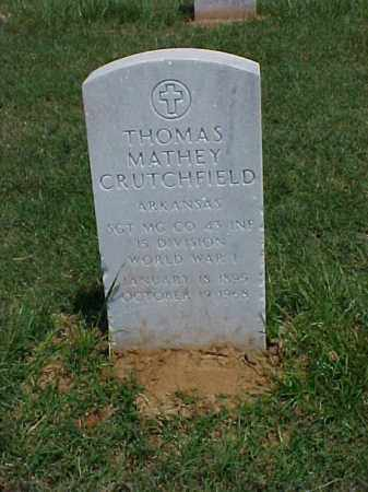 CRUTCHFIELD (VETERAN WWI), THOMAS MATHEY - Pulaski County, Arkansas | THOMAS MATHEY CRUTCHFIELD (VETERAN WWI) - Arkansas Gravestone Photos