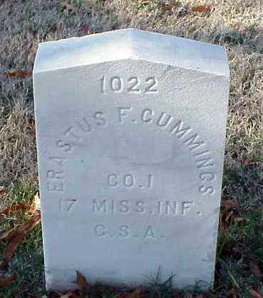 CUMMINGS (VETERAN CSA), ERASTUS F - Pulaski County, Arkansas | ERASTUS F CUMMINGS (VETERAN CSA) - Arkansas Gravestone Photos