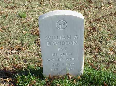 DAVIDSON (VETERAN WWI), WILLIAM A - Pulaski County, Arkansas | WILLIAM A DAVIDSON (VETERAN WWI) - Arkansas Gravestone Photos