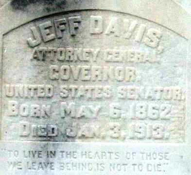 DAVIS (GOVERNOR), JEFF (CLOSEUP) - Pulaski County, Arkansas | JEFF (CLOSEUP) DAVIS (GOVERNOR) - Arkansas Gravestone Photos