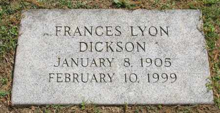 LYON DICKSON, FRANCES - Pulaski County, Arkansas | FRANCES LYON DICKSON - Arkansas Gravestone Photos