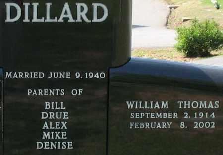 DILLARD, WILLIAM THOMAS (CLOSEUP) - Pulaski County, Arkansas | WILLIAM THOMAS (CLOSEUP) DILLARD - Arkansas Gravestone Photos