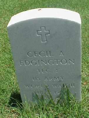 EDGINGTON (VETERAN WWII), CECIL A - Pulaski County, Arkansas | CECIL A EDGINGTON (VETERAN WWII) - Arkansas Gravestone Photos