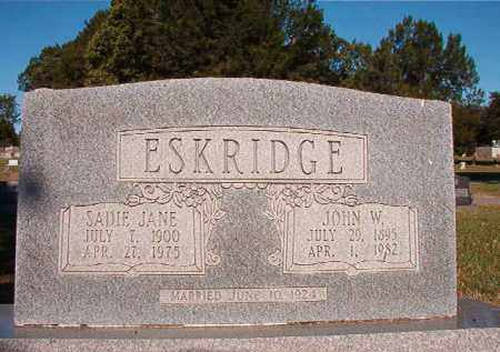 ESKRIDGE, JOHN W - Pulaski County, Arkansas | JOHN W ESKRIDGE - Arkansas Gravestone Photos