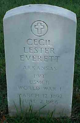 EVERETT (VETERAN WWI), CECIL LESTER - Pulaski County, Arkansas | CECIL LESTER EVERETT (VETERAN WWI) - Arkansas Gravestone Photos