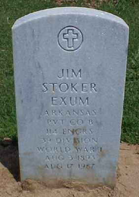EXUM (VETERAN WWI), JIM STROKER - Pulaski County, Arkansas | JIM STROKER EXUM (VETERAN WWI) - Arkansas Gravestone Photos