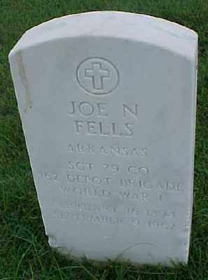 FELLS (VETERAN WWI), JOE N - Pulaski County, Arkansas | JOE N FELLS (VETERAN WWI) - Arkansas Gravestone Photos