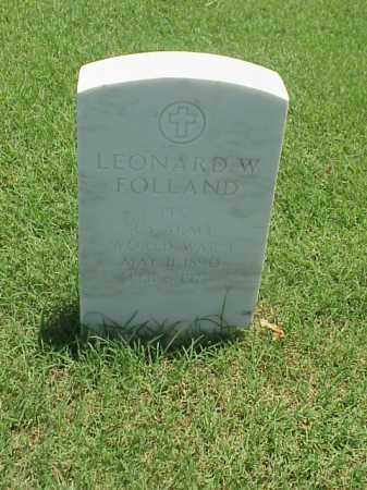 FOLLAND (VETERAN WWI), LEONARD W - Pulaski County, Arkansas | LEONARD W FOLLAND (VETERAN WWI) - Arkansas Gravestone Photos