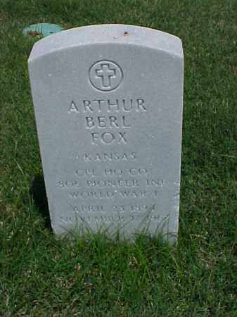 FOX (VETERAN WWI), ARTHUR BERL - Pulaski County, Arkansas | ARTHUR BERL FOX (VETERAN WWI) - Arkansas Gravestone Photos