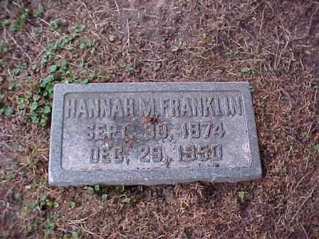 FRANKLIN, HANNAH M - Pulaski County, Arkansas | HANNAH M FRANKLIN - Arkansas Gravestone Photos