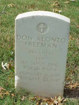 FREEMAN (VETERAN WWI), DON ALONZO - Pulaski County, Arkansas | DON ALONZO FREEMAN (VETERAN WWI) - Arkansas Gravestone Photos