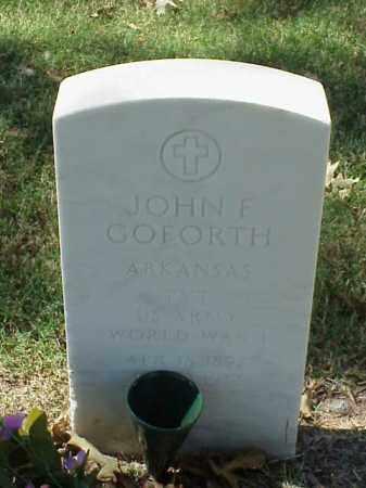 GOFORTH  (VETERAN WWII), JOHN F - Pulaski County, Arkansas | JOHN F GOFORTH  (VETERAN WWII) - Arkansas Gravestone Photos