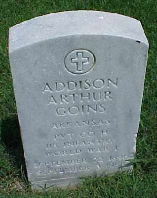 GOINS (VETERAN WWI), ADDISON ARTHUR - Pulaski County, Arkansas | ADDISON ARTHUR GOINS (VETERAN WWI) - Arkansas Gravestone Photos