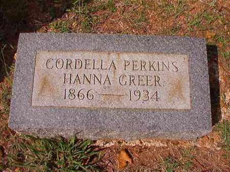 PERKINS HANNA GREER, CORDELLA - Pulaski County, Arkansas | CORDELLA PERKINS HANNA GREER - Arkansas Gravestone Photos