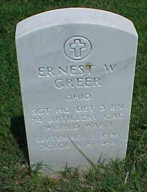 GREER (VETERAN WWI), ERNEST W - Pulaski County, Arkansas | ERNEST W GREER (VETERAN WWI) - Arkansas Gravestone Photos