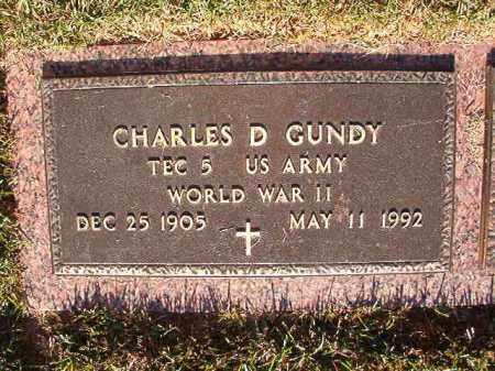 GUNDY (VETERAN WWII), CHARLES D - Pulaski County, Arkansas | CHARLES D GUNDY (VETERAN WWII) - Arkansas Gravestone Photos