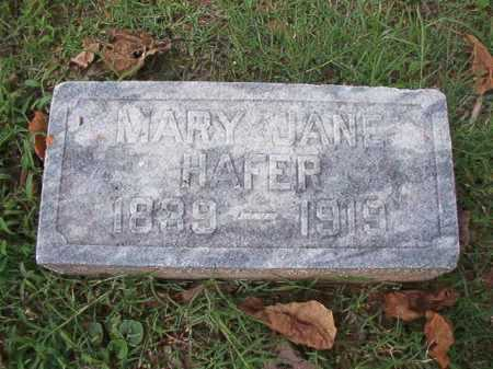 HAFER, MARY JANE - Pulaski County, Arkansas | MARY JANE HAFER - Arkansas Gravestone Photos