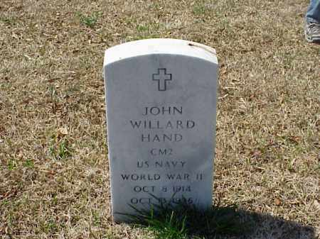 HAND (VETERAN WWII), JOHN WILLARD - Pulaski County, Arkansas | JOHN WILLARD HAND (VETERAN WWII) - Arkansas Gravestone Photos