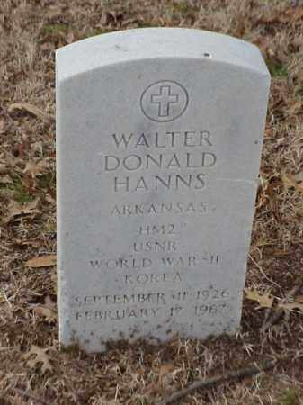 HANNS  (VETERAN 2 WARS), WALTER DONALD - Pulaski County, Arkansas | WALTER DONALD HANNS  (VETERAN 2 WARS) - Arkansas Gravestone Photos