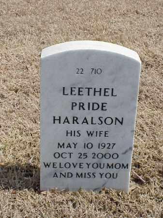 PRIDE HARALSON, LEETHEL - Pulaski County, Arkansas | LEETHEL PRIDE HARALSON - Arkansas Gravestone Photos