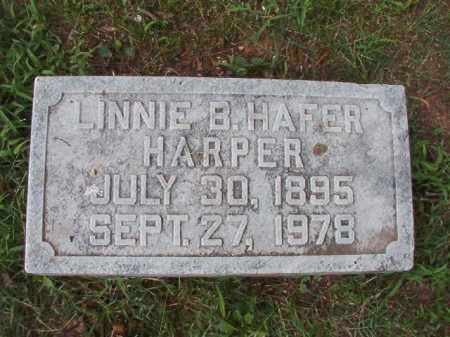 HAFER HARPER, LINNIE B - Pulaski County, Arkansas | LINNIE B HAFER HARPER - Arkansas Gravestone Photos