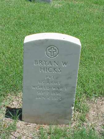 HICKS (VETERAN WWI), BRYAN W - Pulaski County, Arkansas | BRYAN W HICKS (VETERAN WWI) - Arkansas Gravestone Photos