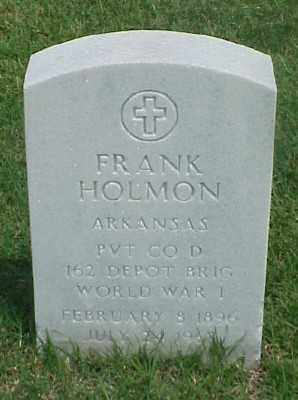 HOLMON (VETERAN WWI), FRANK - Pulaski County, Arkansas | FRANK HOLMON (VETERAN WWI) - Arkansas Gravestone Photos