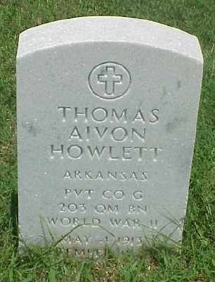 HOWLETT (VETERAN WWII), THOMAS AIVON - Pulaski County, Arkansas | THOMAS AIVON HOWLETT (VETERAN WWII) - Arkansas Gravestone Photos