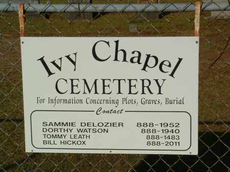 *IVY CHAPEL CEMETERY SIGN,  - Pulaski County, Arkansas |  *IVY CHAPEL CEMETERY SIGN - Arkansas Gravestone Photos